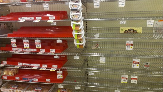 empty shelves in supermarket